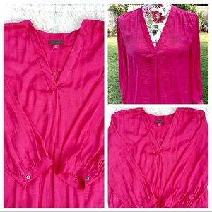 Vince Camuto Blouse Fuscia Pink 3/4 Cuff Sleeve